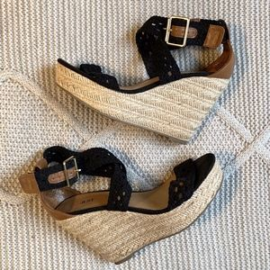 JustFab Crochet/Leather Wedges | Size 8.5